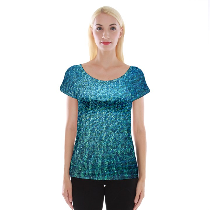 Turquoise Blue Ocean Cap Sleeve Top