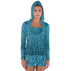 Turquoise Blue Ocean Long Sleeve Hooded T-shirt