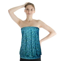 Turquoise Blue Ocean Strapless Top by retrotoomoderndesigns