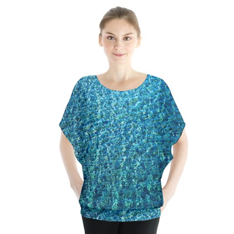 Turquoise Blue Ocean Batwing Chiffon Blouse by retrotoomoderndesigns