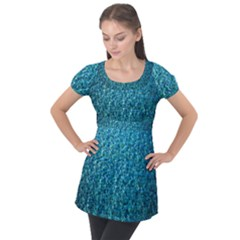 Turquoise Blue Ocean Puff Sleeve Tunic Top