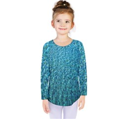 Turquoise Blue Ocean Kids  Long Sleeve Tee