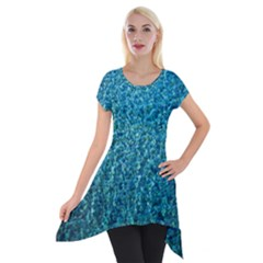 Turquoise Blue Ocean Short Sleeve Side Drop Tunic
