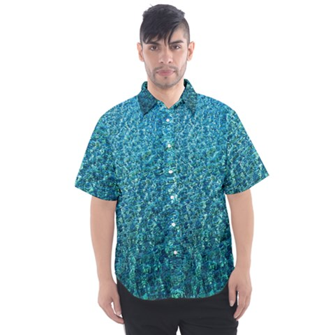 Turquoise Blue Ocean Men s Short Sleeve Shirt by retrotoomoderndesigns