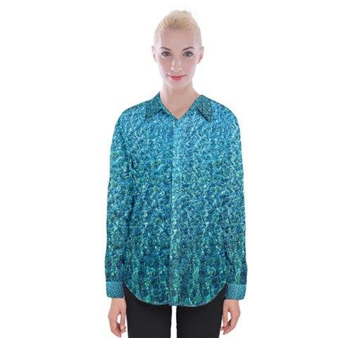 Turquoise Blue Ocean Womens Long Sleeve Shirt by retrotoomoderndesigns