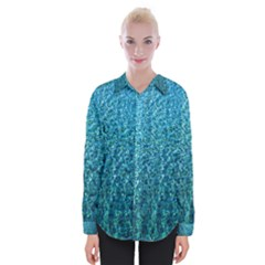 Turquoise Blue Ocean Womens Long Sleeve Shirt