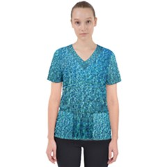 Turquoise Blue Ocean Women s V-neck Scrub Top by retrotoomoderndesigns