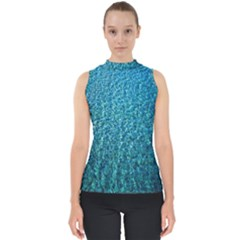 Turquoise Blue Ocean Mock Neck Shell Top
