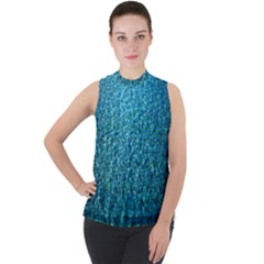 Turquoise Blue Ocean Mock Neck Chiffon Sleeveless Top