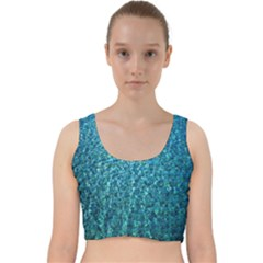 Turquoise Blue Ocean Velvet Racer Back Crop Top