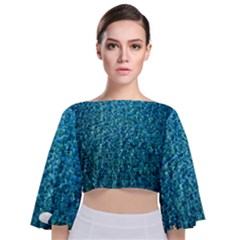 Turquoise Blue Ocean Tie Back Butterfly Sleeve Chiffon Top