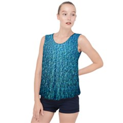 Turquoise Blue Ocean Bubble Hem Chiffon Tank Top