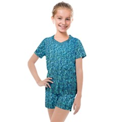 Turquoise Blue Ocean Kids  Mesh Tee and Shorts Set