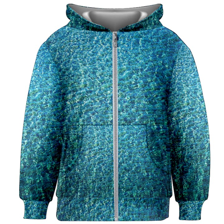 Turquoise Blue Ocean Kids  Zipper Hoodie Without Drawstring