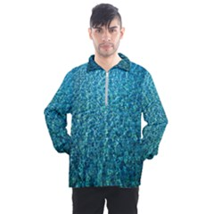 Turquoise Blue Ocean Men s Half Zip Pullover by retrotoomoderndesigns