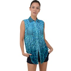 Turquoise Blue Ocean Sleeveless Chiffon Button Shirt