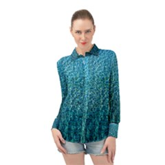 Turquoise Blue Ocean Long Sleeve Chiffon Shirt