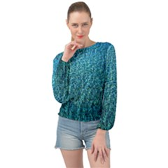 Turquoise Blue Ocean Banded Bottom Chiffon Top