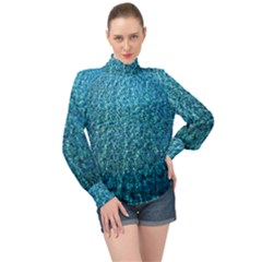 Turquoise Blue Ocean High Neck Long Sleeve Chiffon Top