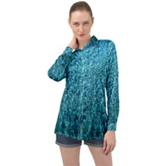 Turquoise Blue Ocean Long Sleeve Satin Shirt