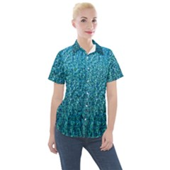 Turquoise Blue Ocean Women s Short Sleeve Pocket Shirt