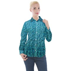 Turquoise Blue Ocean Women s Long Sleeve Pocket Shirt