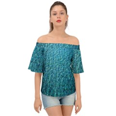 Turquoise Blue Ocean Off Shoulder Short Sleeve Top