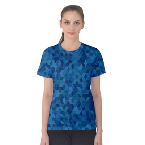 Blue Mosaic Women s Cotton Tee by retrotoomoderndesigns