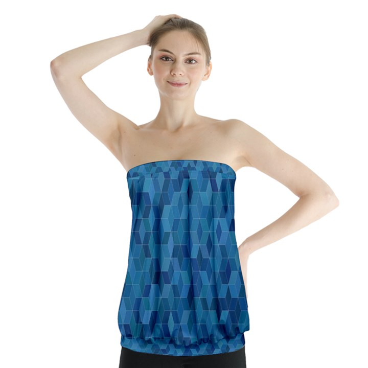 Blue Mosaic Strapless Top