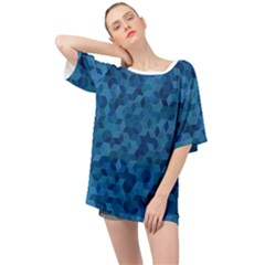Blue Mosaic Oversized Chiffon Top by retrotoomoderndesigns