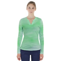Mint Watercolor V-Neck Long Sleeve Top