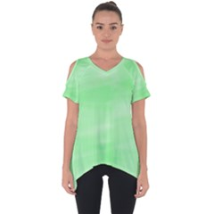 Mint Watercolor Cut Out Side Drop Tee
