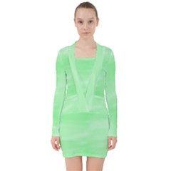 Mint Watercolor V-neck Bodycon Long Sleeve Dress