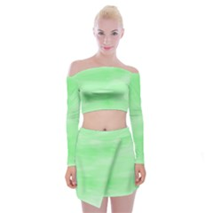 Mint Watercolor Off Shoulder Top with Mini Skirt Set