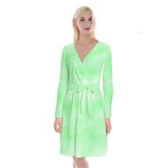 Mint Watercolor Long Sleeve Velvet Front Wrap Dress by retrotoomoderndesigns