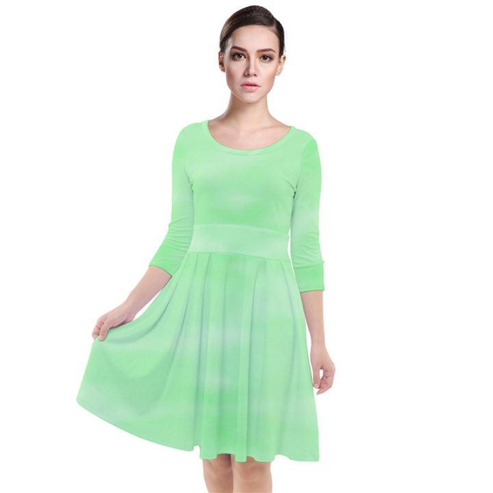 Mint Watercolor Quarter Sleeve Waist Band Dress