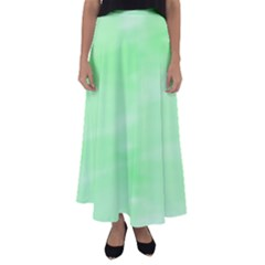 Mint Watercolor Flared Maxi Skirt