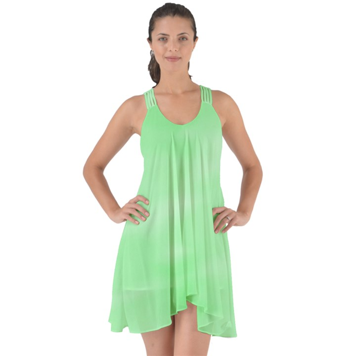 Mint Watercolor Show Some Back Chiffon Dress