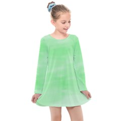 Mint Watercolor Kids  Long Sleeve Dress by retrotoomoderndesigns