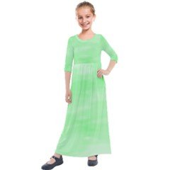 Mint Watercolor Kids  Quarter Sleeve Maxi Dress by retrotoomoderndesigns
