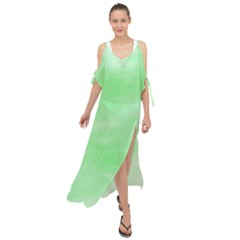 Mint Watercolor Maxi Chiffon Cover Up Dress