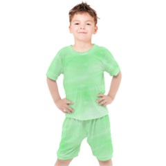 Mint Watercolor Kids  Tee and Shorts Set