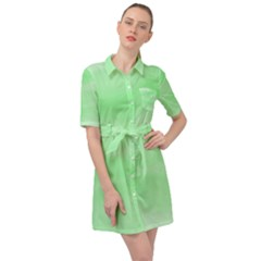 Mint Watercolor Belted Shirt Dress