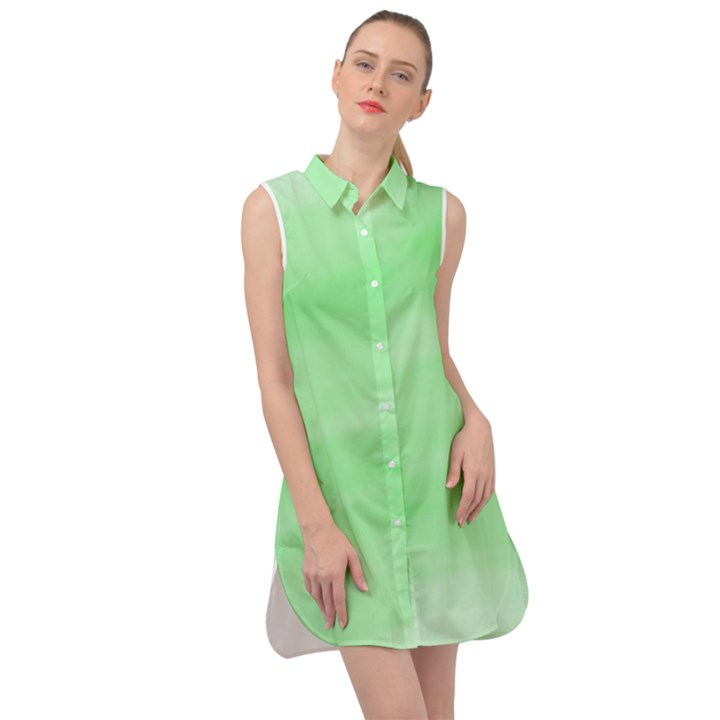 Mint Watercolor Sleeveless Shirt Dress