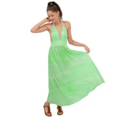 Mint Watercolor Backless Maxi Beach Dress