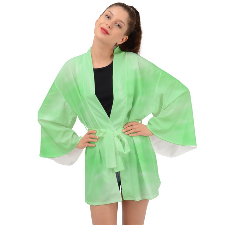 Mint Watercolor Long Sleeve Kimono