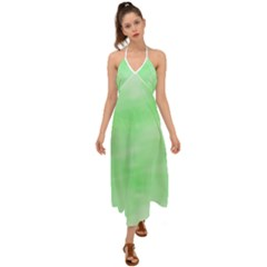 Mint Watercolor Halter Tie Back Dress  by retrotoomoderndesigns