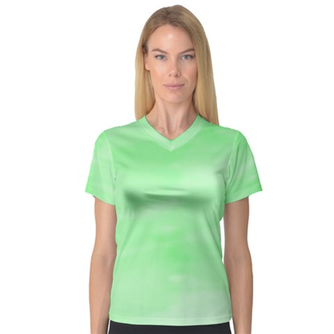 Mint Watercolor V-neck Sport Mesh Tee by retrotoomoderndesigns