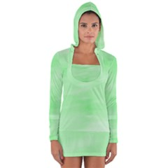 Mint Watercolor Long Sleeve Hooded T-shirt