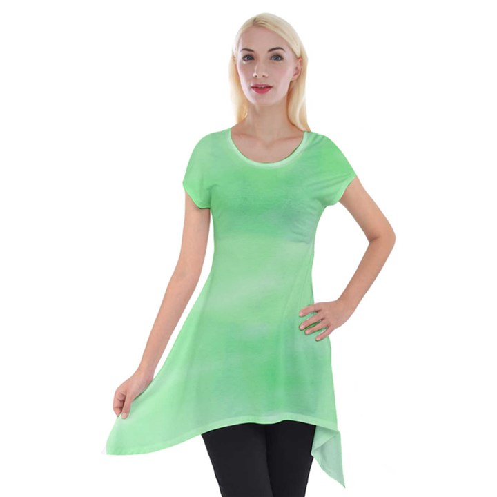 Mint Watercolor Short Sleeve Side Drop Tunic